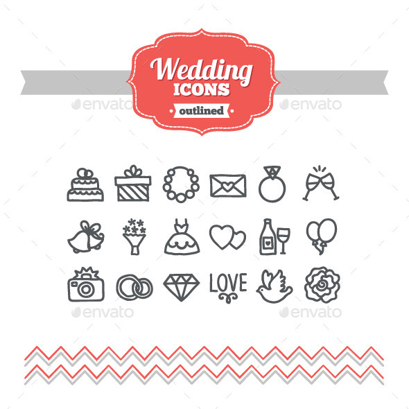 Hand Drawn Wedding Icons - Miscellaneous Icons