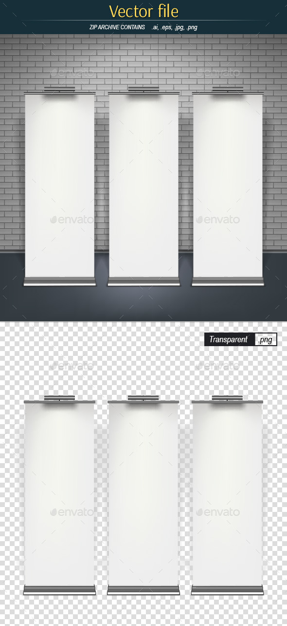 Roll-Up Banners on the Brick Wall Background