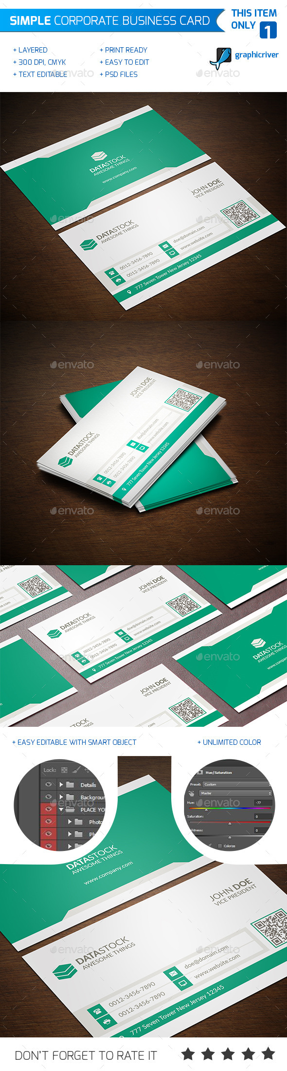 Simple Corporate Business Card - Corporate Business Cards