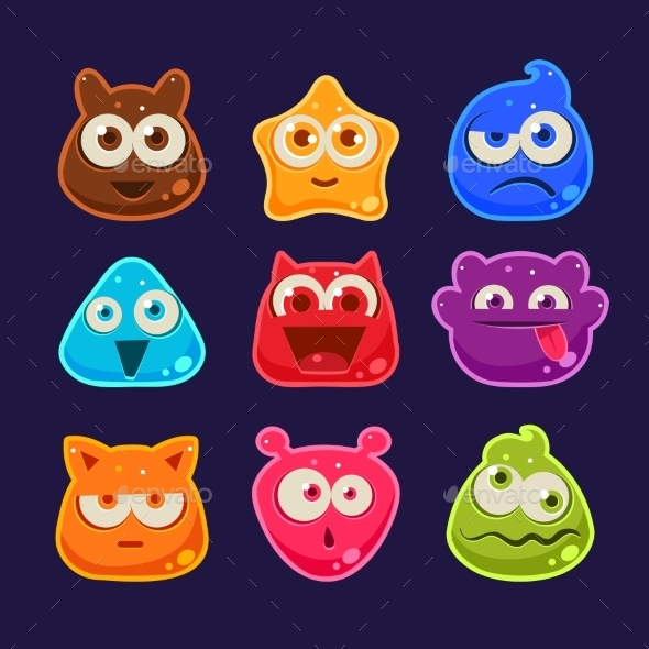 Cute Jelly Characters With Different Emotions  - Monsters Characters