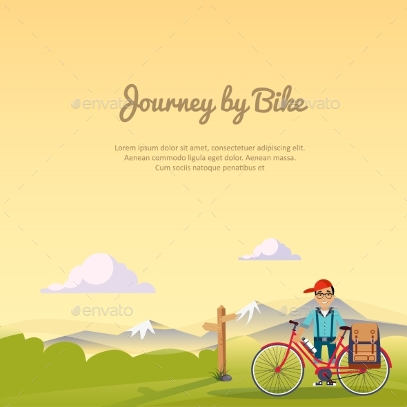 Journey By bikeVector Illustration - Travel Conceptual