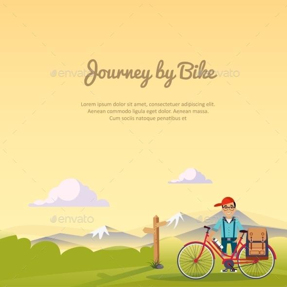 Journey By bikeVector Illustration