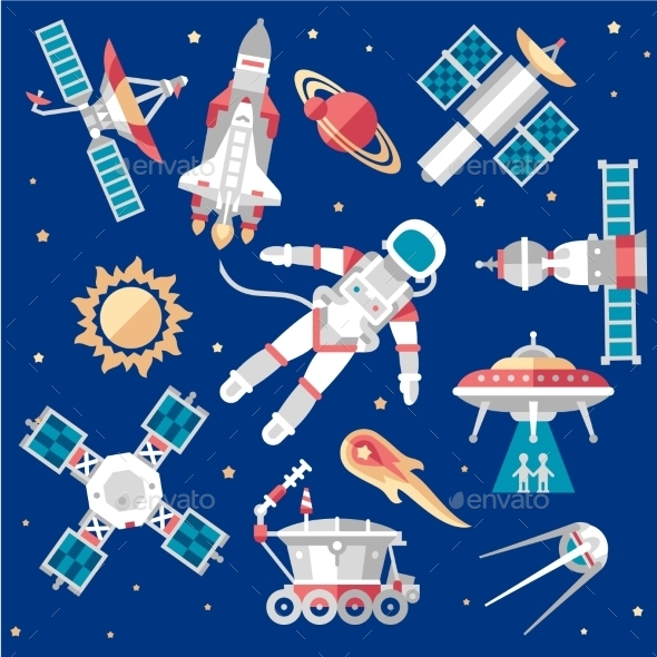 Vector Illustration Set On Space