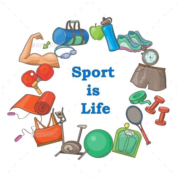 Hand Drawn Sport Doodle Set - Sports/Activity Conceptual