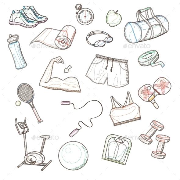 Hand Drawn Sport Doodle Set - Sports/Activity Conceptual