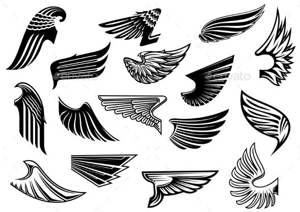 Vintage Isolated Heraldic Wings Set - Tattoos Vectors