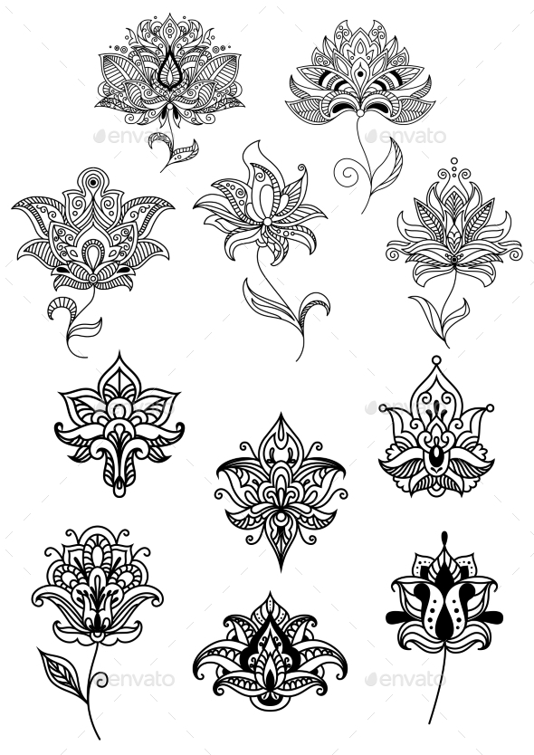 Persian And Indian Paisley Flowers Set - Flowers & Plants Nature