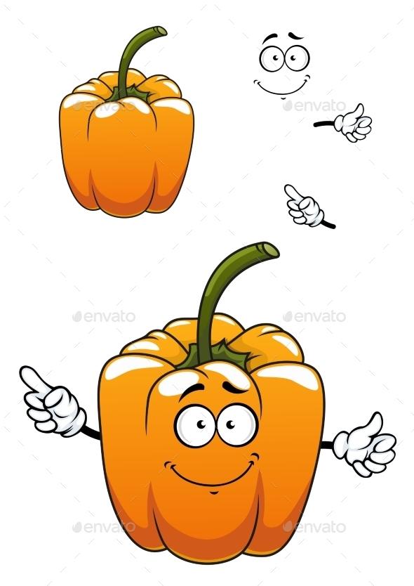 Orange Cartoon Bell Pepper Vegetable - Food Objects