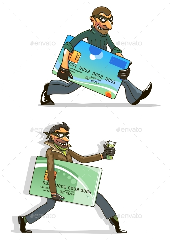 Cartoon Thieves With Stolen Credit Cards And Money - Concepts Business