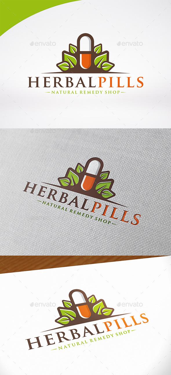 Natural Pill Logo Template - Nature Logo Templates