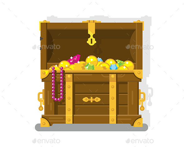 Treasure Chest With Gold Coins - Objects Vectors