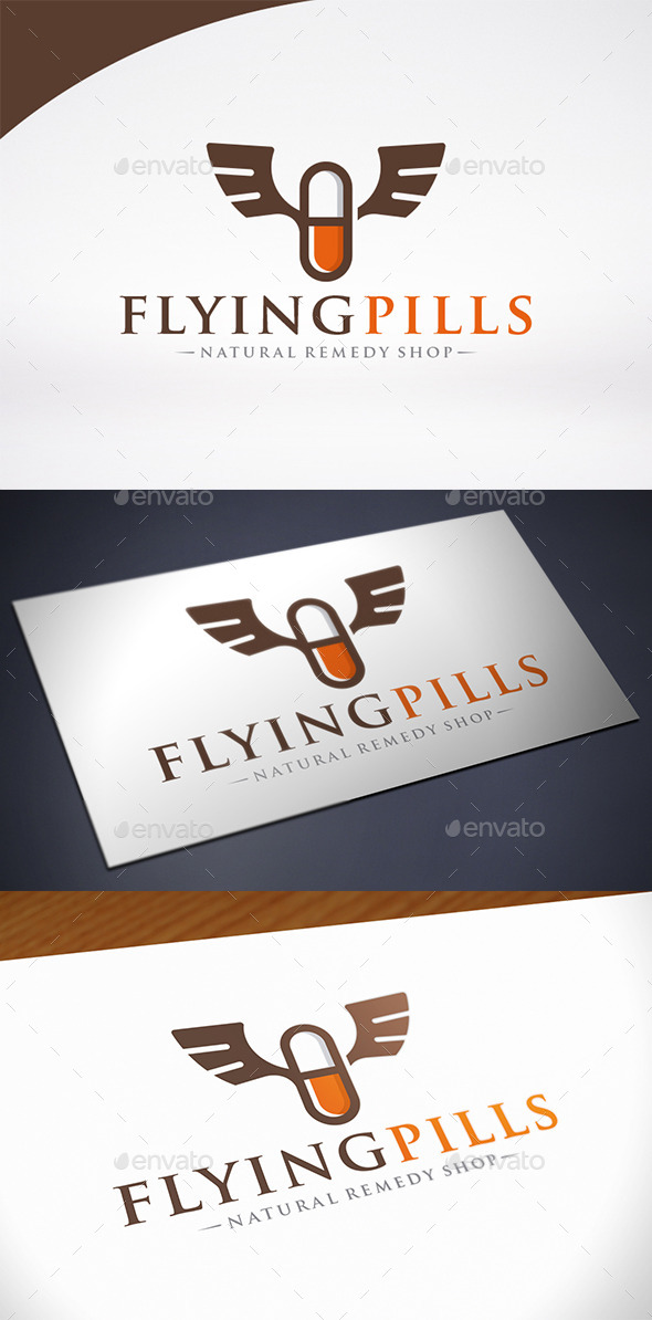Pill Wings Logo Template - Nature Logo Templates