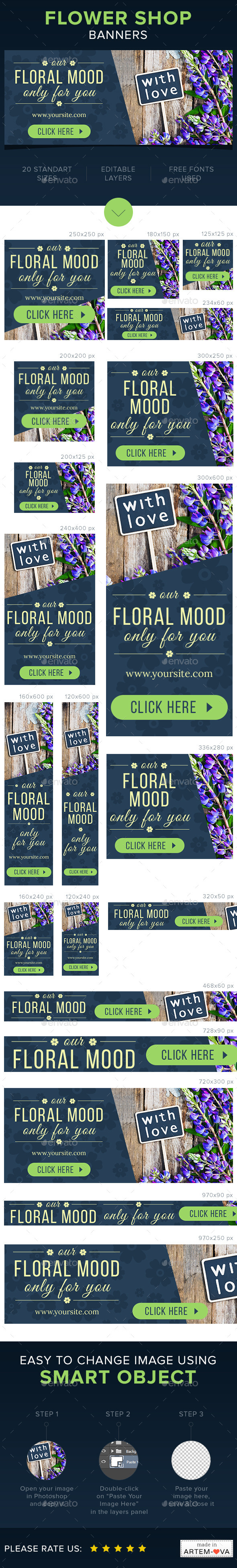 Flower Shop Banners Set - Banners & Ads Web Elements