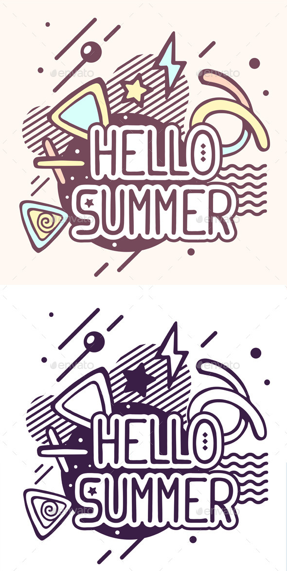 Hello Summer Quote on Abstract Background - Decorative Symbols Decorative