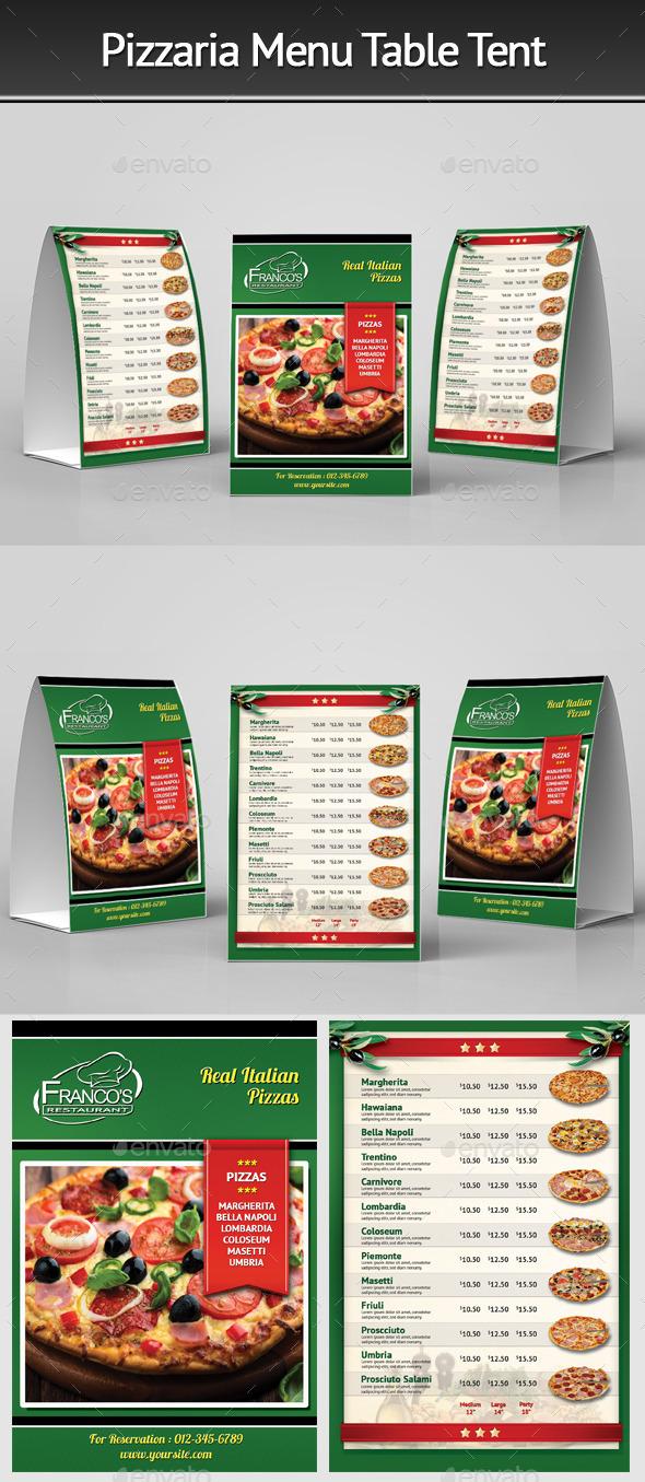 Pizzeria Menu Table Tent 3 - Food Menus Print Templates