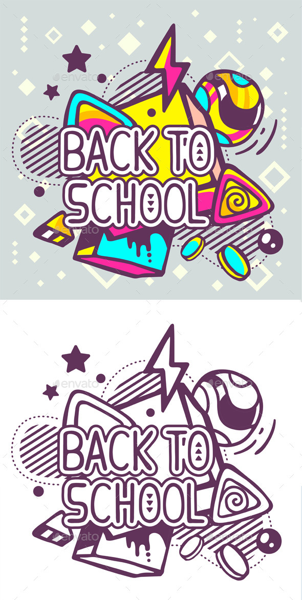 Back to School Quote on Abstract Background - Decorative Symbols Decorative