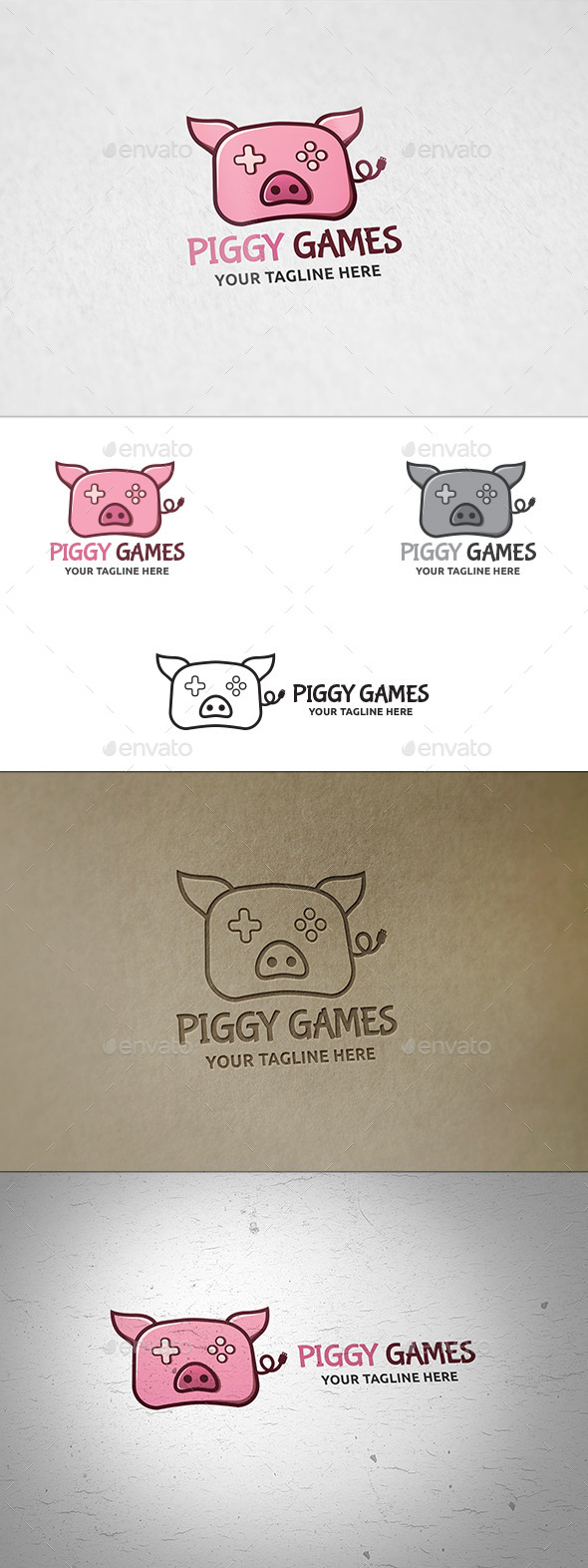 Piggy Games Logo Template
