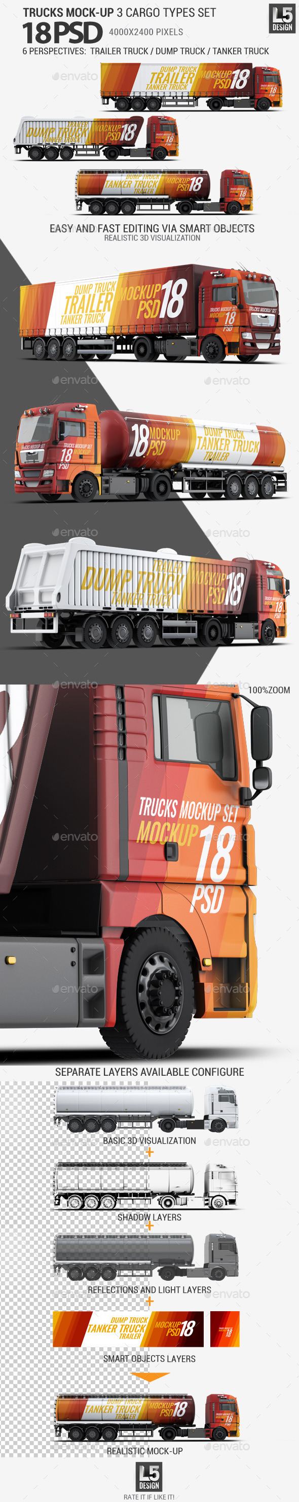 Trucks Mock-up 3 Cargo Types Set