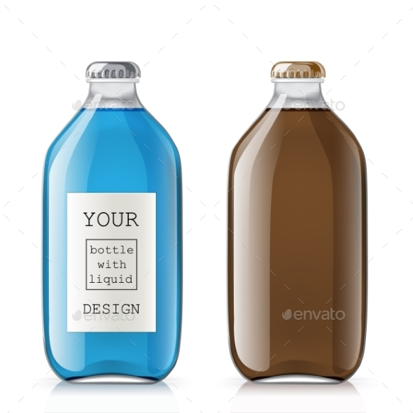 Set Of Glass Bottles With a Liquid - Objects Vectors