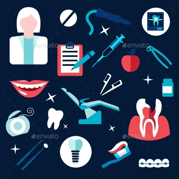 Health And Dental Themed Flat Icons - Health/Medicine Conceptual