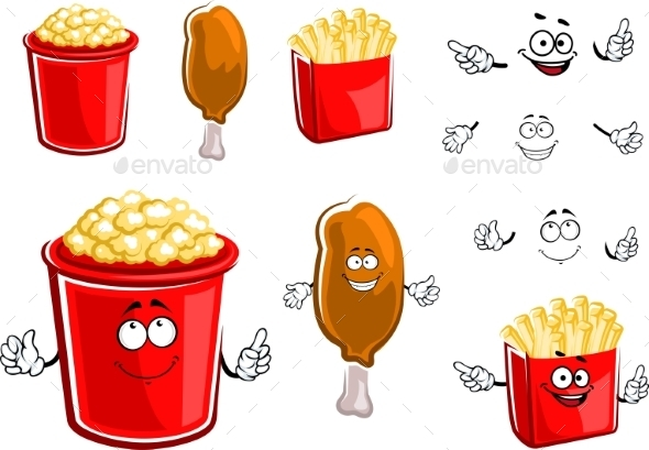 French Fries, Chicken Leg And Popcorn  - Food Objects
