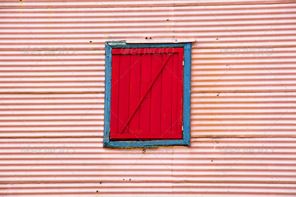 Wall with window in La Boca - Stock Photo - Images
