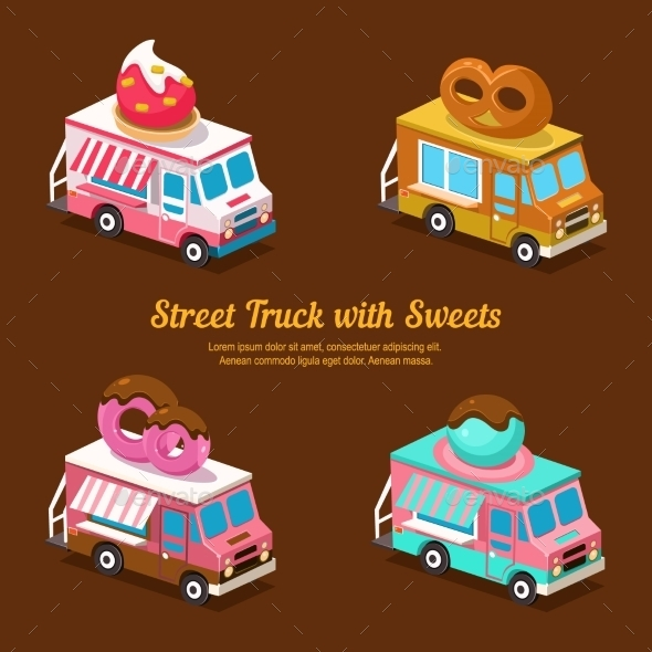 Sweets Food Truck, Sweet Isometric - Food Objects