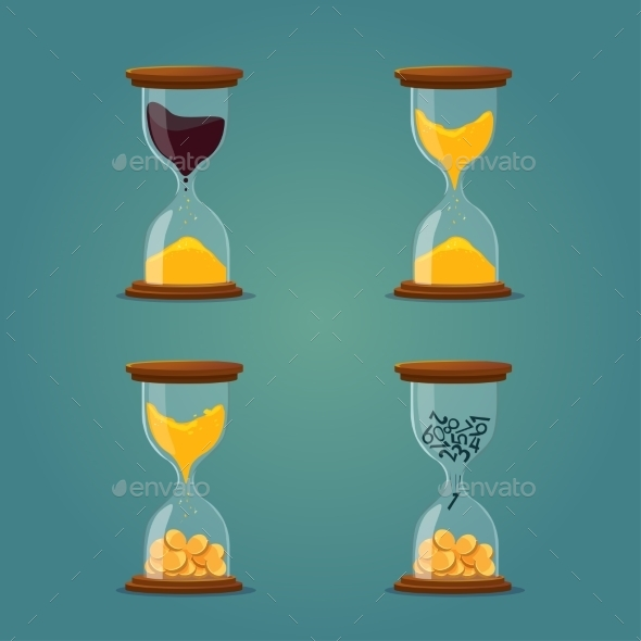 Hourglass With Sand, Oil, Coins - Concepts Business