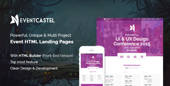 EventCastle – Events Landing Page Template With Page Builder
