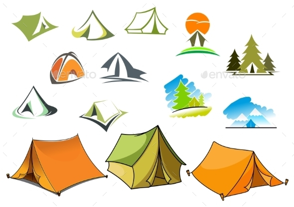 Camping Symbols With Tents And Nature - Travel Conceptual