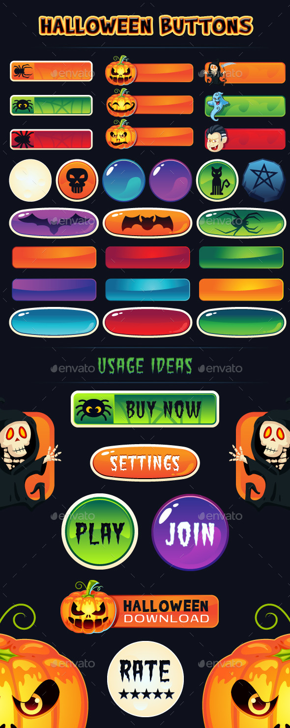 Halloween Buttons for Web and Games - Buttons Web Elements
