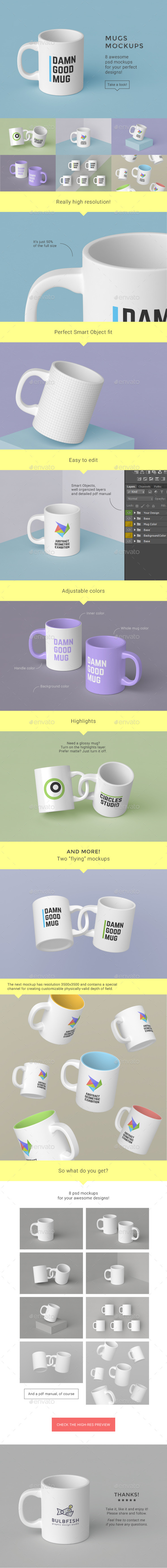 Mugs Mockups Pack - Food and Drink Packaging