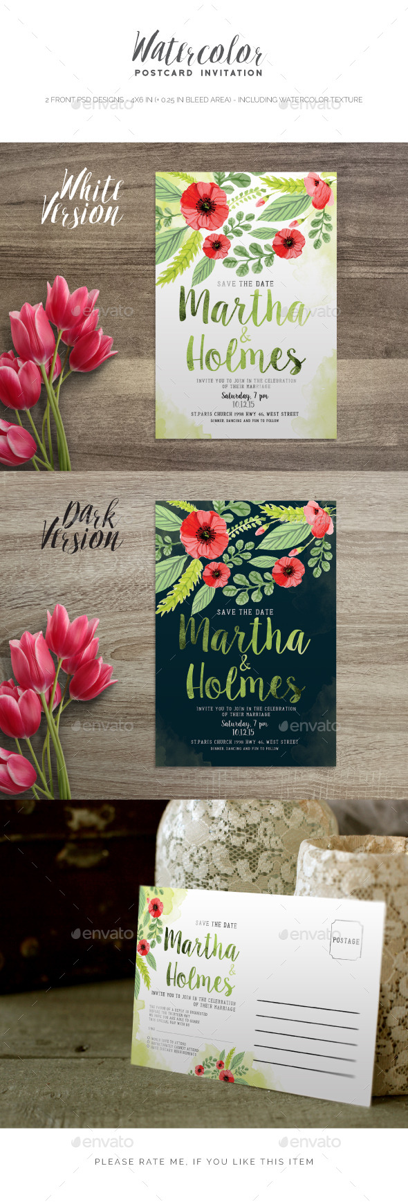 Watercolor Postcard Invitation  - Invitations Cards & Invites