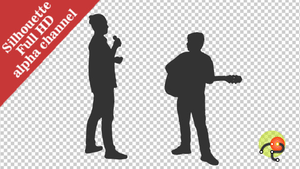 Silhouette of Teenagers Playing Guitar & Singing