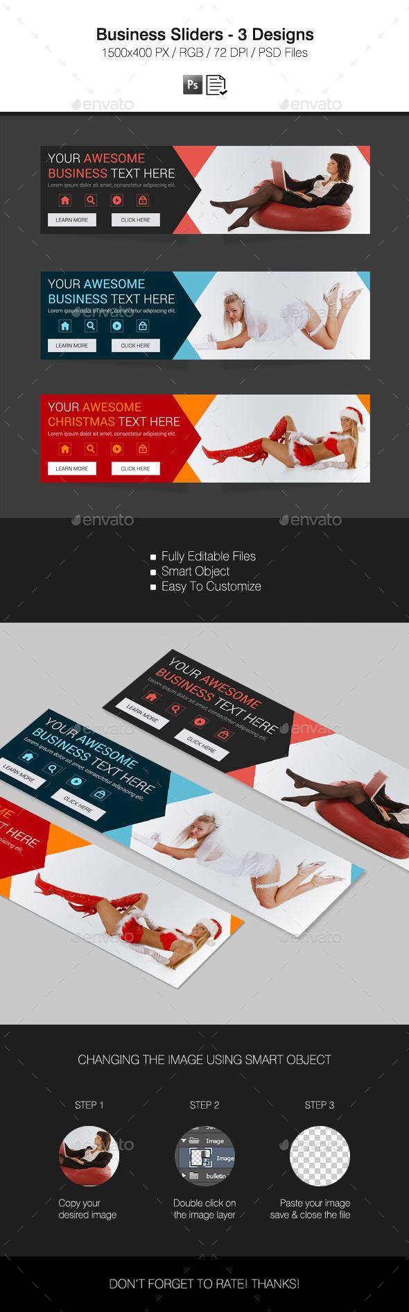 Business Sliders - 3 Designs - Sliders & Features Web Elements