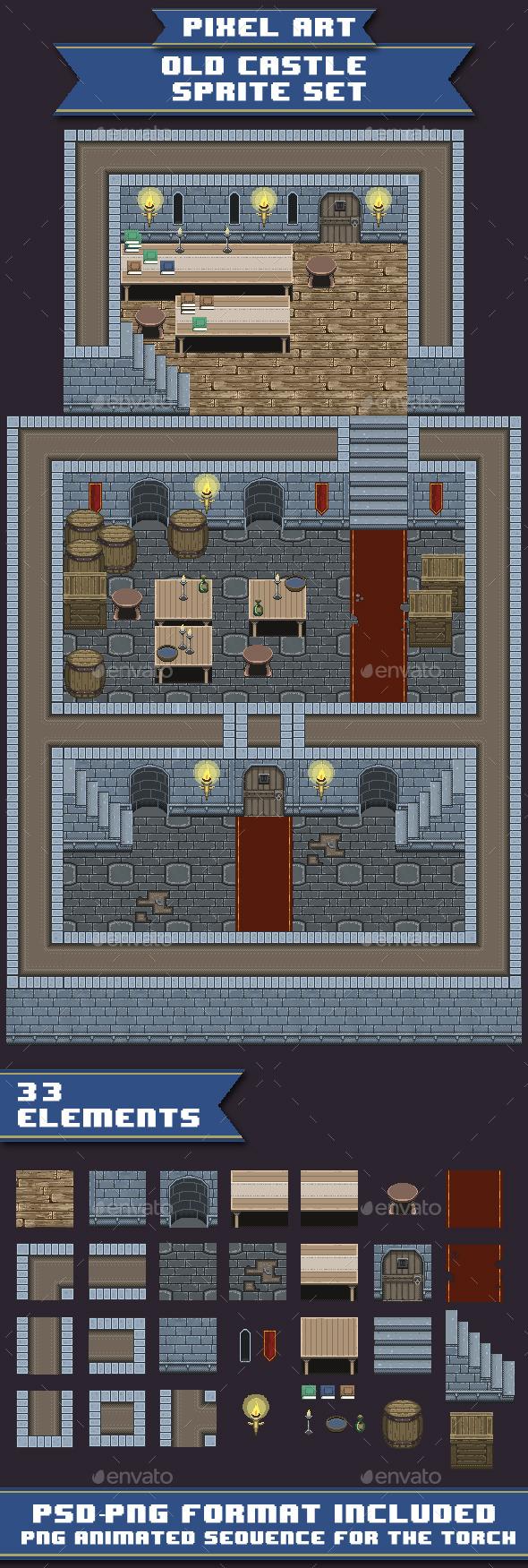 Pixel Art-Old Castle Sprite Set - Tilesets Game Assets