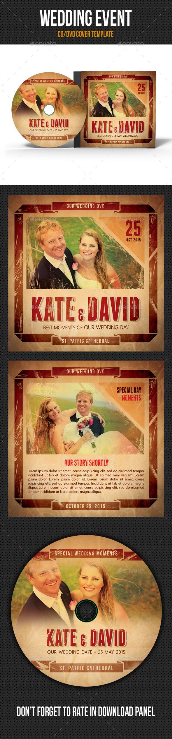 Retro Wedding Event CD Cover V01 - CD & DVD Artwork Print Templates