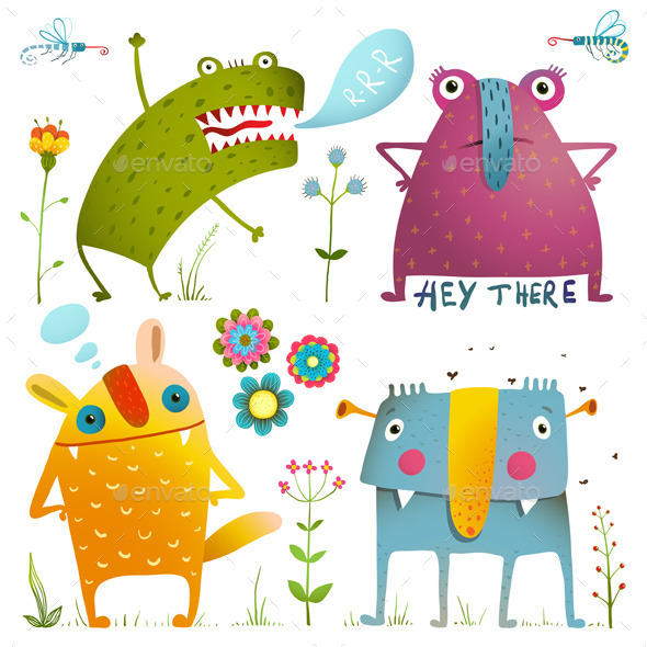 Monsters for Kids Design Colorful