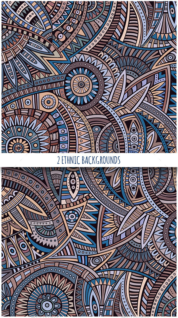 2 Ethnic Vintage Backgrounds - Backgrounds Decorative