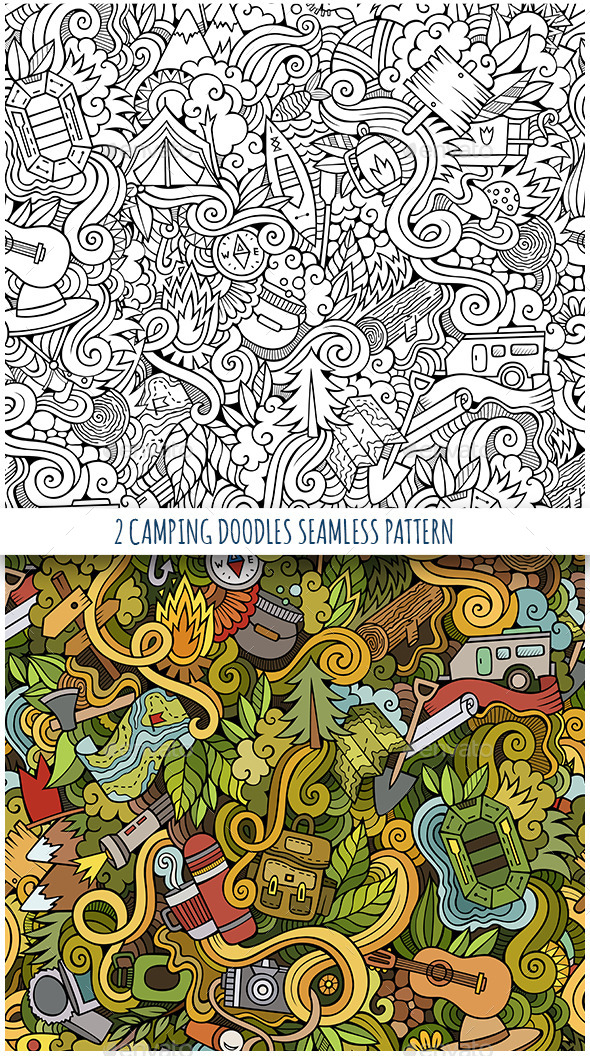2 Camping Doodles Seamless Patterns - Backgrounds Decorative