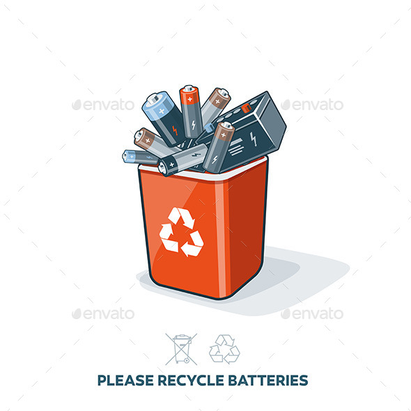 Used Batteries in Recycling Bin - Miscellaneous Conceptual