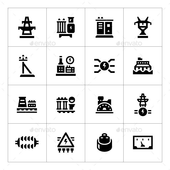 Set Icons of Power Industry - Man-made objects Objects