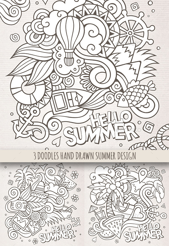 3 Doodles Summer Sketchy Backgrounds - Seasons Nature