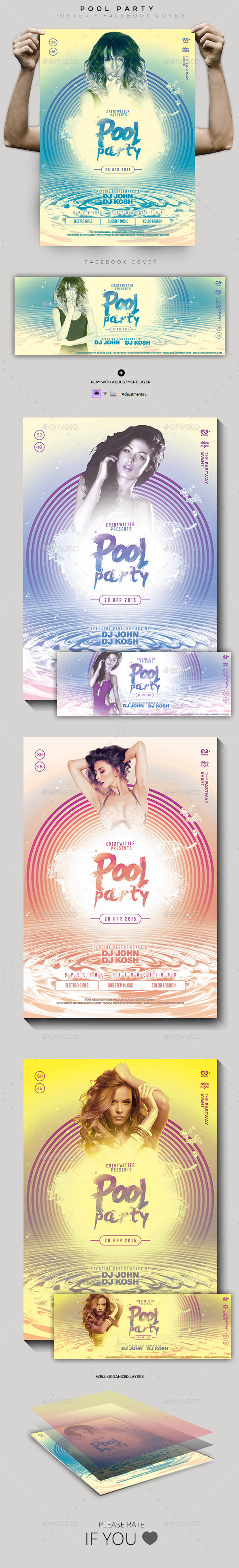 Pool Party Flyer / Poster / Facebook Cover - Clubs & Parties Events