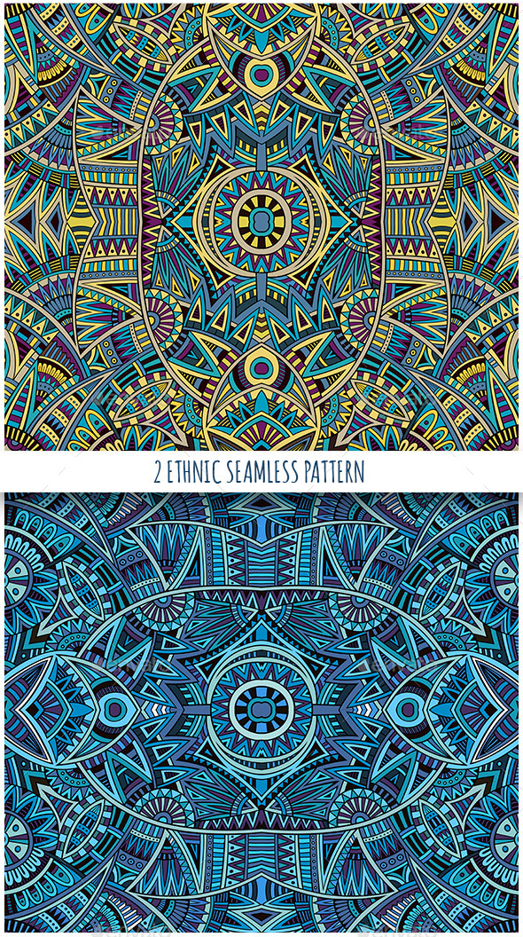 2 Ethnic Seamless Patterns - Backgrounds Decorative