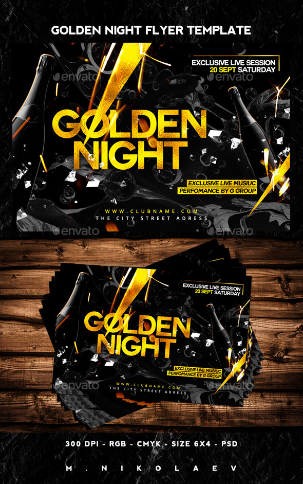 Golden Night Flyer - Clubs & Parties Events