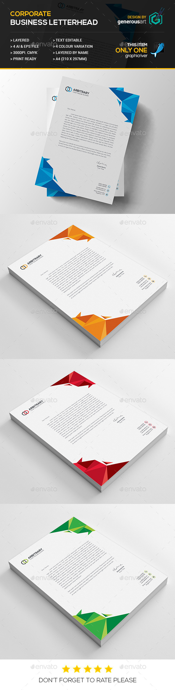 Business Letterhead - Stationery Print Templates