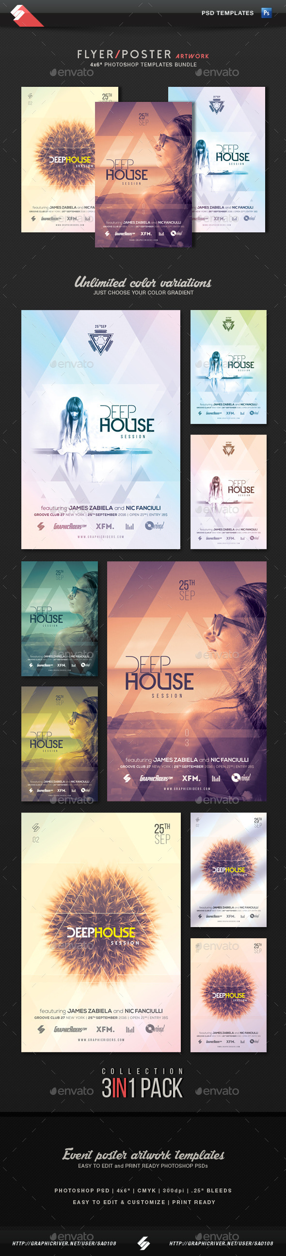 Deep House Session - Event Flyer Templates Bundle - Clubs & Parties Events