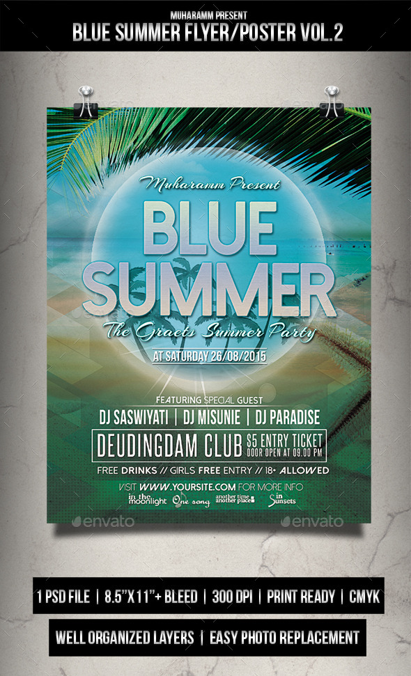 Blue  Summer Flyer / Poster Vol.2 - Clubs & Parties Events