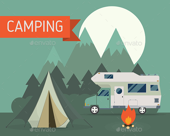 Mountain RV Camping Landscape in Flat Style - Travel Conceptual